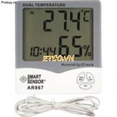 Thiết bị đo nhiệt độ/độ ẩm/đồng hồ để bàn Smarsensor AR867 ((-10~50C,20~99%RH)